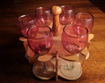 Vintage Iridescent Cherry Cordial Glasses with Handmade Wooden Stand