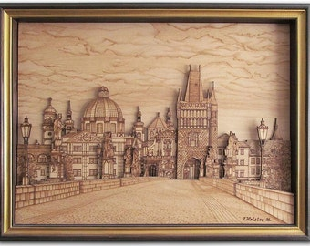 "Art pyrography picture ""Prague"". Wood wall art. Wood picture."