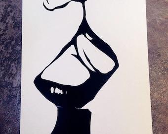 Black & White Print: The Kiss
