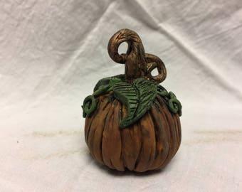 Polymer Clay Pumpkin Sculpture, Sculpture, Fall Sculpture, Miniature Pumpkin