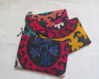 Uzbek silk,cotton hand embroidery,Traditional wallet,Suzani walllet.