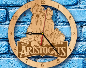Aristocats Marie Clock the aristocats party aristocats birthday gift print art duchess Thomas O'Malley toulouse lautrec Berlioz kittens