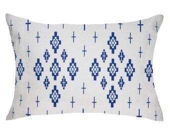 Blue & White Crosses pillow, geometric, cotton, Mediterranean