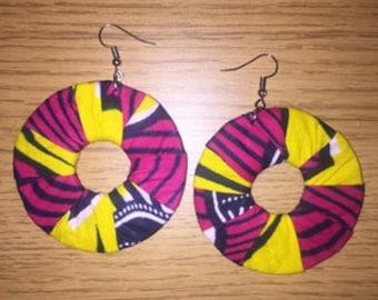 African Print Hooped Earrings