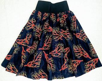 Blue African Print Skirt