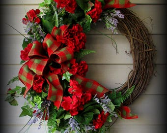Round Greenery Wreath with Red Geraniums , Greenery - Matching Burlap Ribbon - 24""