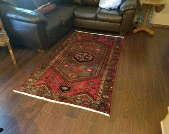 Vintage Zanjan Persian Rug 4' × 7'