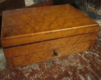 Birds Eye Maple Jewelry Box, Wood Jewelry Box, Victorian Jewelry Box, Velvet Lined Jewelry Box, Antique Jewelry Box