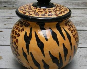 Bold LEOPARD PRINT/TIGER Cookie Jar, Exotic Animal Print, Ceramic Cookie Jar, Classic Cookie Jar, Hand Painted, Custom Cookie Jar,