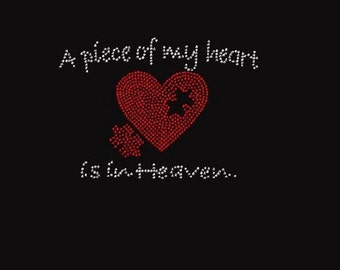 Rhinestone  A Piece of My Heart Is in Heaven  Lightweight T-Shirt                                Q8E4