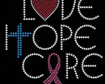 Rhinestone  Breast Cancer Love Hope Cure  Ladies T Shirt or DIY Iron On Transfer     JQLL