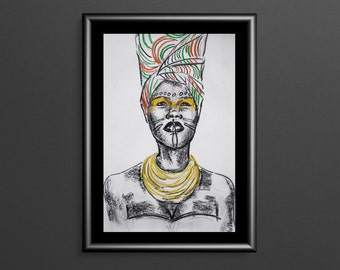 African Dancer - Charcoal & Pastel Figure Drawing