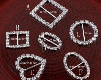 6Design Bling Metal Rhinestone Buckle Sliders For Clothes Clear Crystal Ribbon Buckles For Wedding Invitation Crafts