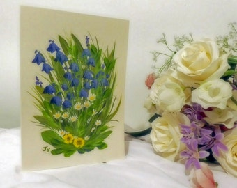Handpainted Card - Bluebells & Daisies