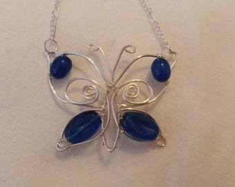 Wire wrapped butterfly pendant necklace