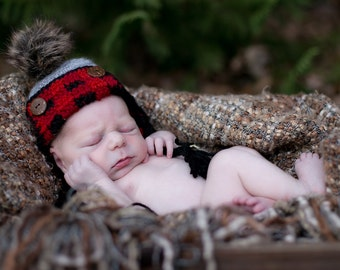 Buffalo Plaid Crochet Hat, Newborn Buffalo Plaid Hat, Baby Boy Hat
