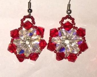 Red Swarovski crystal beaded earrings