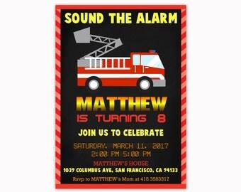 Fireman Birthday Invitation, Firetruck Birthday Invitation, Firefighter Birthday Invitation, Fire Truck Invite, Fire Engine Invite Party