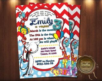 dr seuss invitation | etsy, Birthday invitations