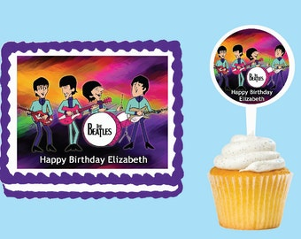 The Beatles  Edible Cake Cupcake Cookie Toppers Decorations  Or Plastic cupcake pick top for birthday party