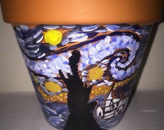"Vincent Van Gogh's "" Starry night "" 4 inch pot , hand painted pot"
