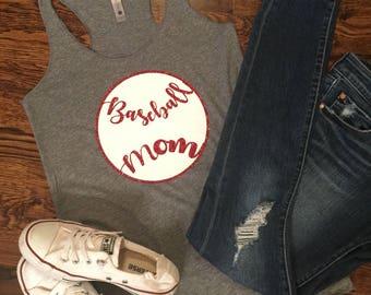 Baseball Tank/Baseball Mom/Sports Mom/ Sports Shirt/Glitter HTV