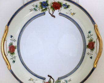 Vintage Noritake Morimura Hand Painted Cake Plate, Serving Plate, Red and Blue Floral Plate, Hand Painted Plate