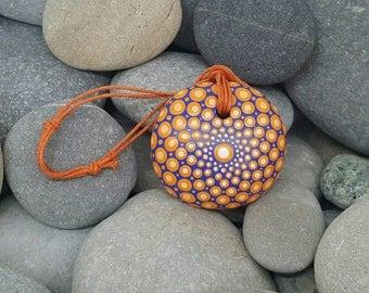 Mandala Stone Necklace - Paint Rock - Paint Stone - Unique Hand-Painted Necklace - Mandala Art - Dot Art - Chakra - Healing - Paint Stone