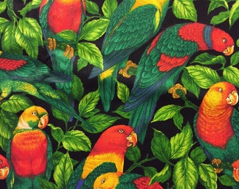 Tropical Bird Fabric Black With Parrots Leaves Cotton Last Piece 1.5 Yards