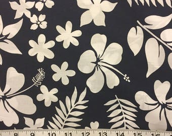 Tropical Fabric Navy Blue White Hibiscus Fern Cotton By The Yard 36 Inches Long