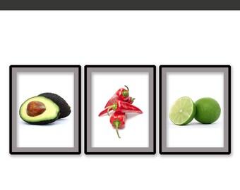 Kitchen Print - Kitchen Art - Food Decor -  Kitchen Wall Art - Chile Print - Avocado Print - Instant Download Printable Art