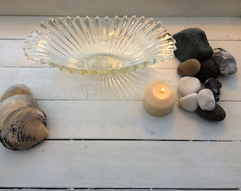 Art Deco style ribbed glass vase
