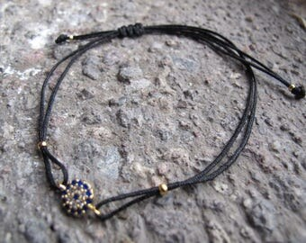 Black silk charm bracelet, Evil Eye charm bracelet, Charm bracelet