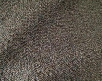 Italien Woolen Fabric / Tissu de laine - Green Herringbone