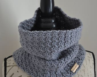 Handmade knit Crochet Ladies/Women Neck Warmer, Infinity Scarf, Cowl, in Grey.