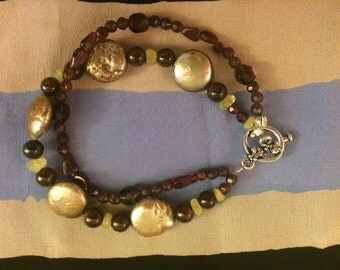 Pearl, Garnet and Citrine Bracelet