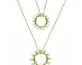 Necklace Double circle Pearl