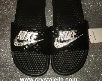 Nike Benassi Sandals in Black with Swarovski Crystals