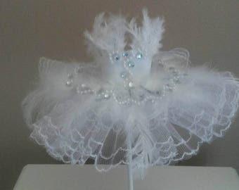 Odette White Swan miniature ballet tutu,mixed media art dress, tulle, ornament, Swan Lake