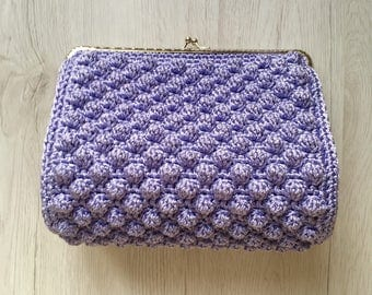 Lilac vintage crochet bag/pouch with silver CLAC click Closure