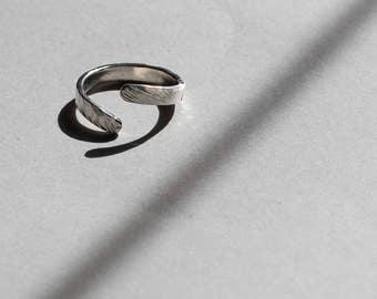 Handmade sterling silver hammered open/ adjustable stacking ring UK size: M