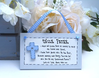 D21 Will you be my Godparent / Godmother / Godfather / Guideparent .. Christening / Baptism Cross request gift plaque
