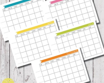 calendar planner download, monthly calendar, digital download, A4 size