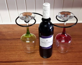 Metal Wine Bottle Glass Holder