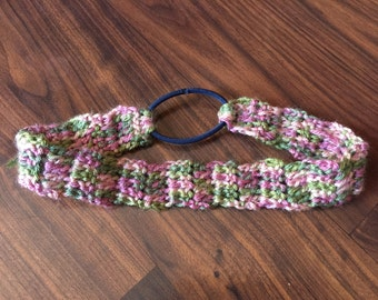 Crocheted Headband - Green & Pink