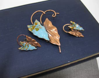 "RARE Vintage Renoir Matisse ""Hawaii"" Copper floral leaf brooch & earring set"