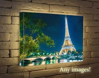 Gift For Her - Paris Eiffel Custom Night Light, Light Box, luminated  Poster, home decor, wall  lamp   Photo  Box, Lighted poster