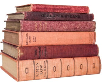 Set of Red Pink & Burgandy Old Books for Decor, Book Gift, Vintage Library, Instant Library, Antique Collection, Vintage Book Themed Wedding