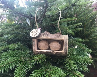 Bird feeder made from recyled Christmas Trees