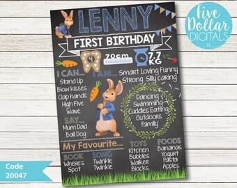 Peter Rabbit Chalkboard Blackboard Personalised Digital First Birthday Milestone Board
